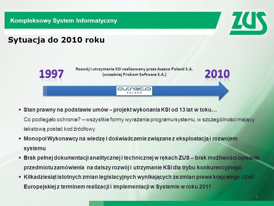 9 Rozwój i utrzymanie KSI realizowany przez Asseco Poland S.A. (wcześniej Prokom Software S.A.) Stan prawny na podstawie umów – projekt wykonania KSI