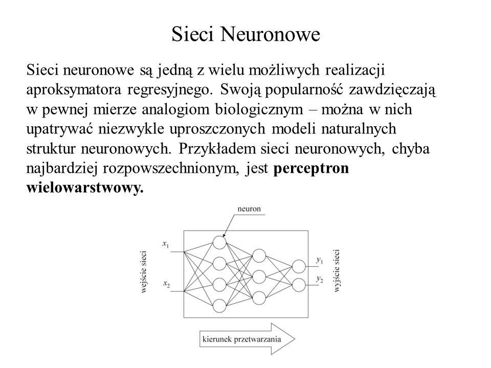 Sieci Neuronowe Sieci neuronowe są jedną z wielu możliwych realizacji aproksymatora regresyjnego. Swoją popularność zawdzięczają w pewnej mierze analo