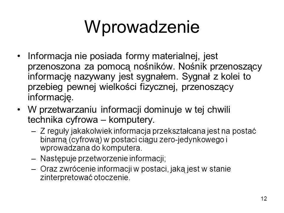 12 Wprowadzenie Informacja nie posiada formy materialnej, jest przenoszona za pomocą nośników. Nośnik przenoszący informację nazywany jest sygnałem. S