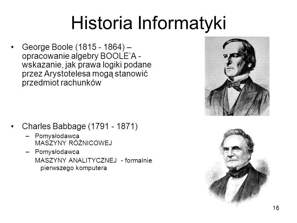 16 Historia Informatyki George Boole (1815 - 1864) – opracowanie algebry BOOLEA - wskazanie, jak prawa logiki podane przez Arystotelesa mogą stanowić