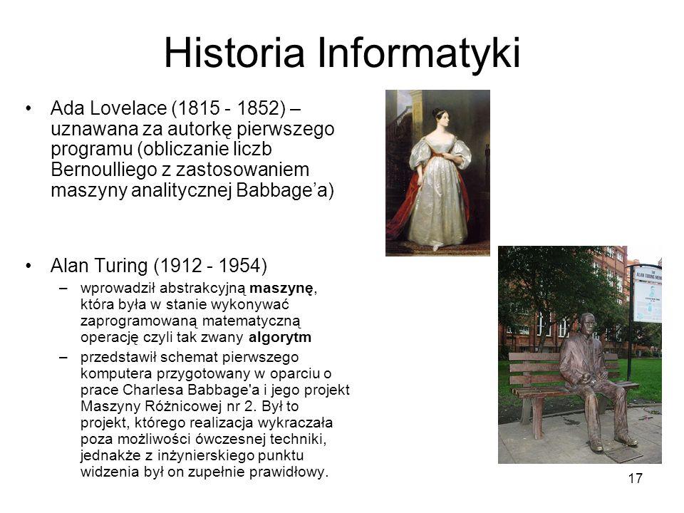 17 Historia Informatyki Ada Lovelace (1815 - 1852) – uznawana za autorkę pierwszego programu (obliczanie liczb Bernoulliego z zastosowaniem maszyny an