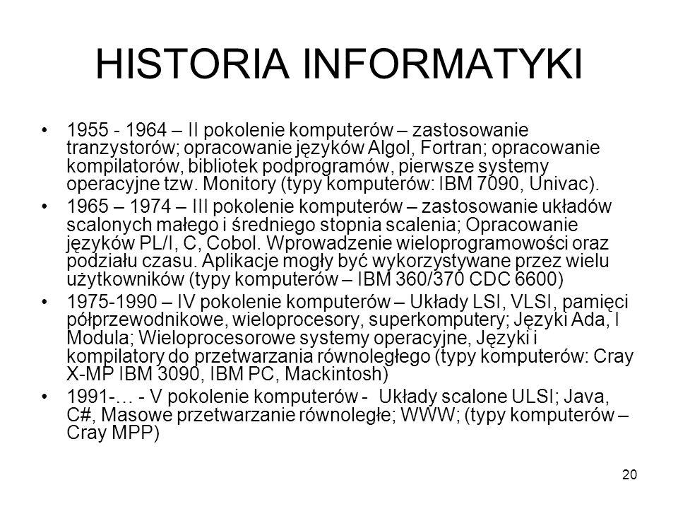 20 HISTORIA INFORMATYKI 1955 - 1964 – II pokolenie komputerów – zastosowanie tranzystorów; opracowanie języków Algol, Fortran; opracowanie kompilatoró