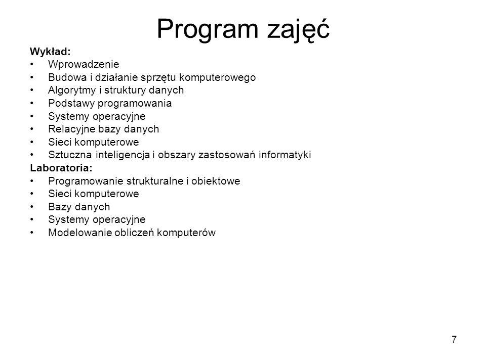 7 Program zajęć Wykład: Wprowadzenie Budowa i działanie sprzętu komputerowego Algorytmy i struktury danych Podstawy programowania Systemy operacyjne R