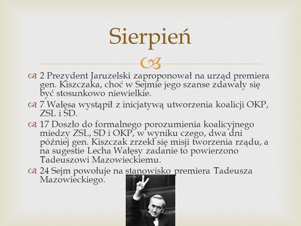 2 Prezydent Jaruzelski zaproponował na urząd premiera gen.