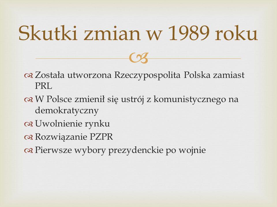Została utworzona Rzeczypospolita Polska zamiast PRL W Polsce zmienił się ustrój z komunistycznego na demokratyczny Uwolnienie rynku Rozwiązanie PZPR Pierwsze wybory prezydenckie po wojnie Skutki zmian w 1989 roku