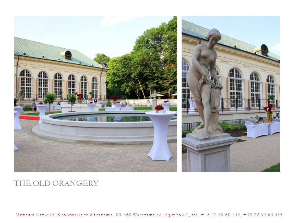THE MYŚLEWICKI PALACE The Myślewicki Palace is an excellent setting to host breakfast, simple and cosy lunch or dinner parties, elegant tasting meetings as well as concerts in an intimate atmosphere of the interior of the eighteenth century architecture.