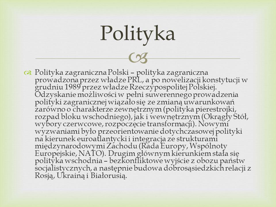 Polityka zagraniczna Polski – polityka zagraniczna prowadzona przez władze PRL, a po nowelizacji konstytucji w grudniu 1989 przez władze Rzeczypospoli