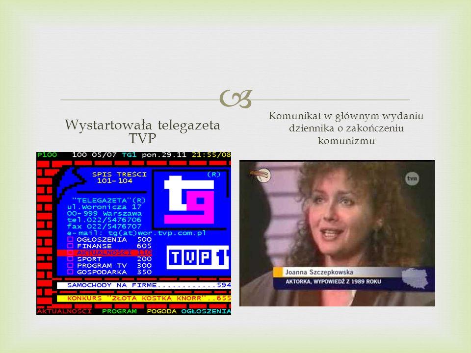 Wystartowała telegazeta TVP Komunikat w głównym wydaniu dziennika o zakończeniu komunizmu