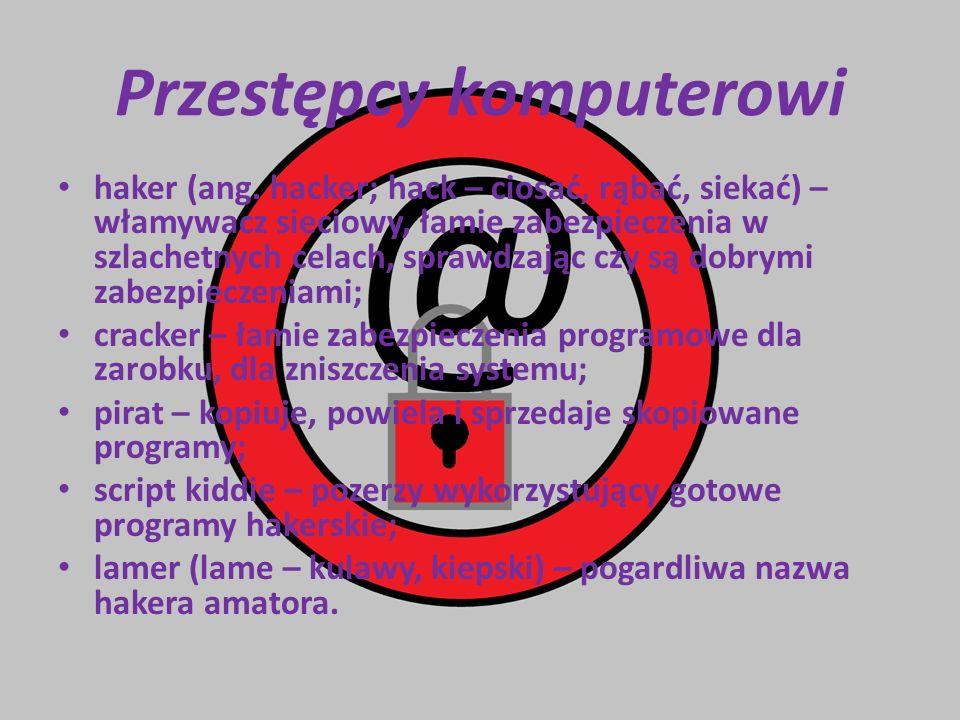 Przestępcy komputerowi haker (ang. hacker; hack – ciosać, rąbać, siekać) – włamywacz sieciowy, łamie zabezpieczenia w szlachetnych celach, sprawdzając