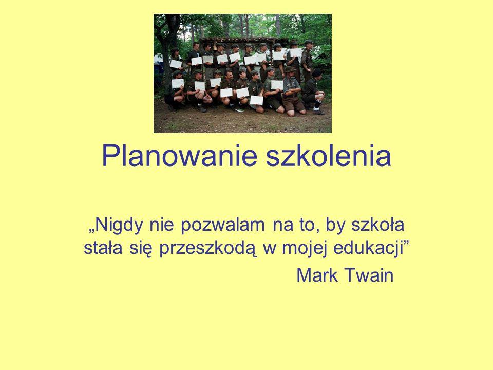 Planowanie szkolenia Nigdy nie pozwalam na to, by szkoła stała się przeszkodą w mojej edukacji Mark Twain