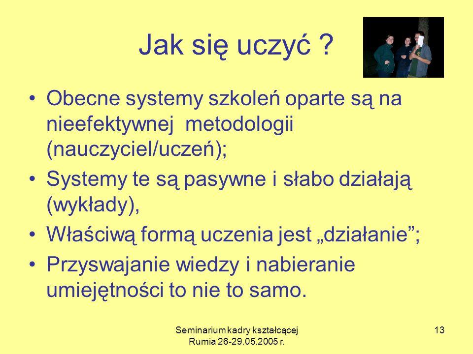 Seminarium kadry kształcącej Rumia 26-29.05.2005 r. 13 Jak się uczyć ? Obecne systemy szkoleń oparte są na nieefektywnej metodologii (nauczyciel/uczeń