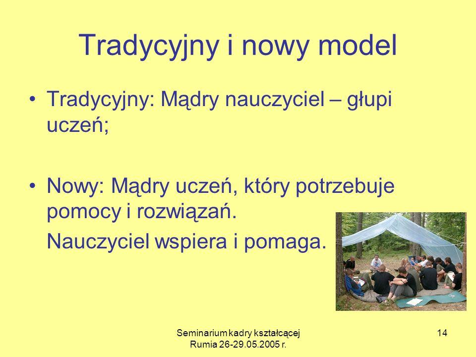 Seminarium kadry kształcącej Rumia 26-29.05.2005 r. 14 Tradycyjny i nowy model Tradycyjny: Mądry nauczyciel – głupi uczeń; Nowy: Mądry uczeń, który po