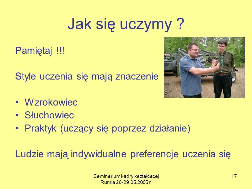Seminarium kadry kształcącej Rumia 26-29.05.2005 r. 17 Jak się uczymy ? Pamiętaj !!! Style uczenia się mają znaczenie Wzrokowiec Słuchowiec Praktyk (u