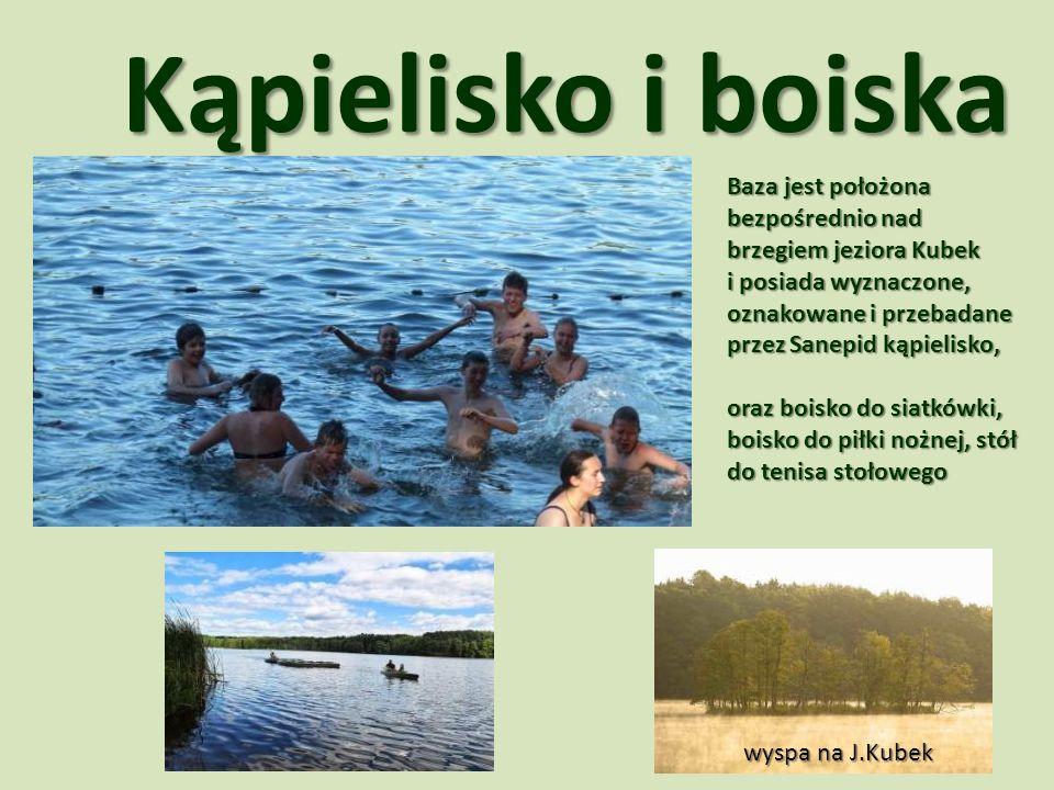 Kąpielisko i boiska Baza jest położona bezpośrednio nad brzegiem jeziora Kubek i posiada wyznaczone, oznakowane i przebadane przez Sanepid kąpielisko, oraz boisko do siatkówki, boisko do piłki nożnej, stół do tenisa stołowego wyspa na J.Kubek