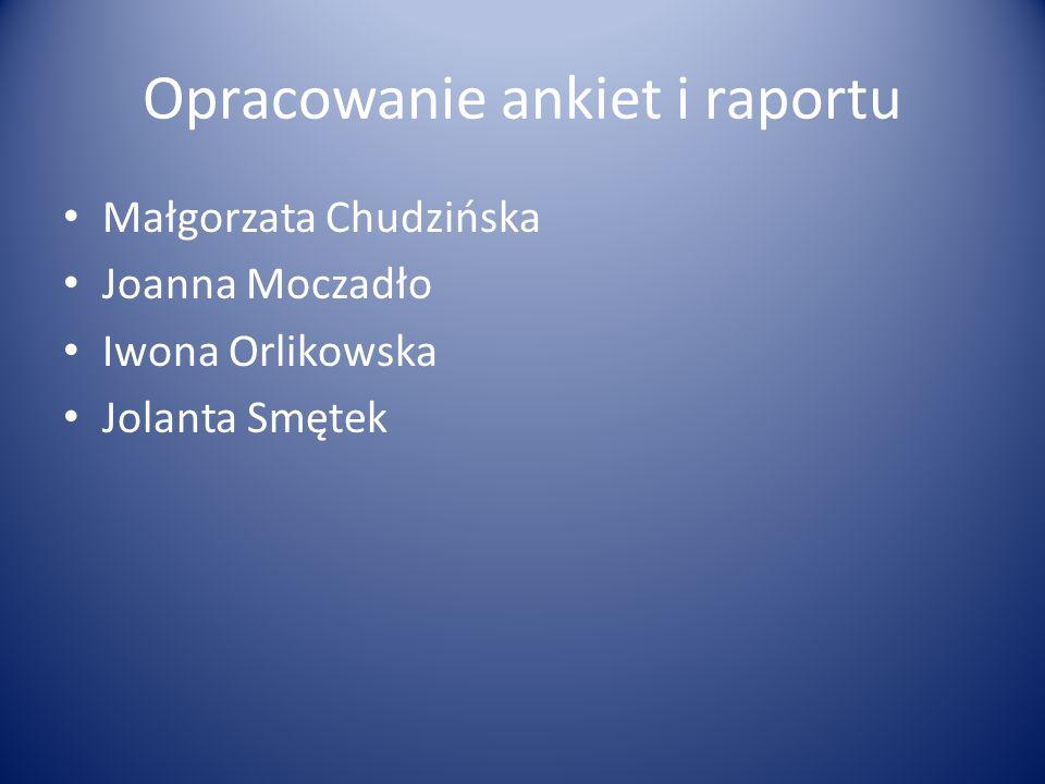 Opracowanie ankiet i raportu Małgorzata Chudzińska Joanna Moczadło Iwona Orlikowska Jolanta Smętek