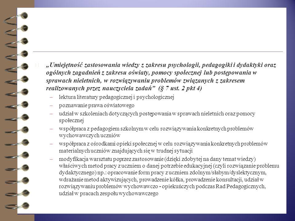 4 Umiejętność wykorzystywania w pracy technologii informacyjnej i komunikacyjnej (§ 7 ust. 2 pkt 3) –przygotowanie planu rozwoju zawodowego oraz dokum