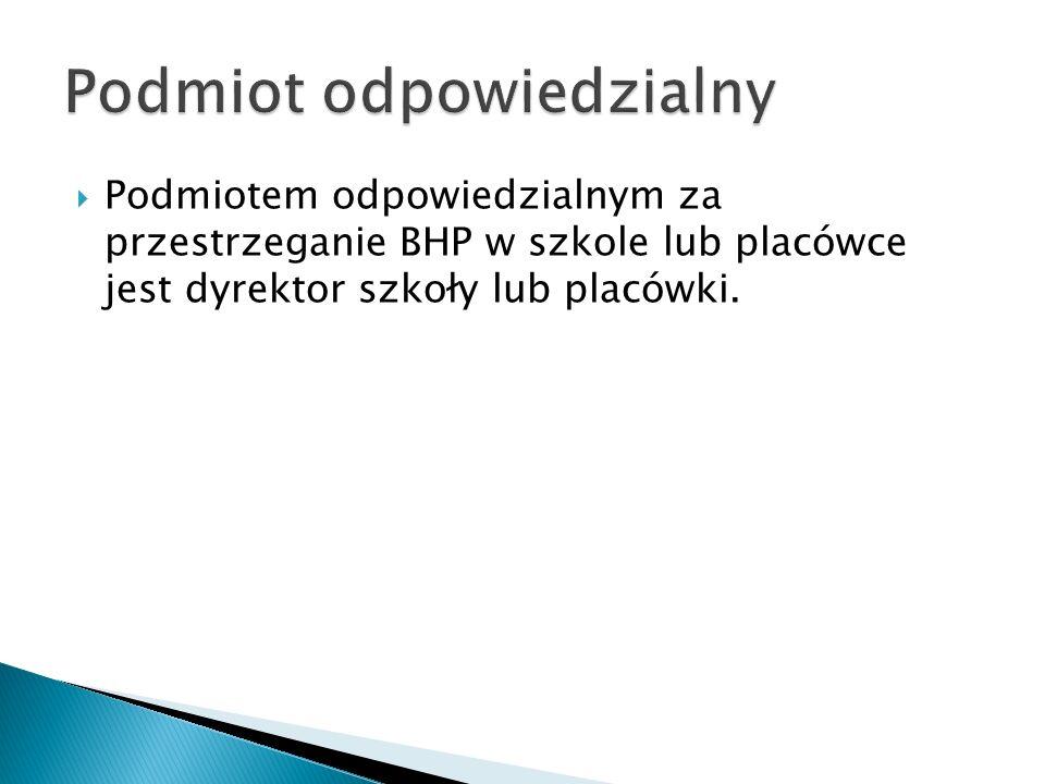 Podmiotem odpowiedzialnym za przestrzeganie BHP w szkole lub placówce jest dyrektor szkoły lub placówki.
