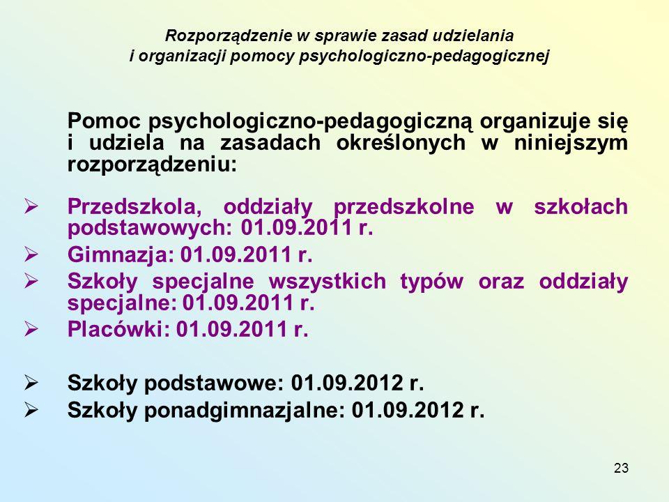23 Pomoc psychologiczno-pedagogiczną organizuje się i udziela na zasadach określonych w niniejszym rozporządzeniu: Przedszkola, oddziały przedszkolne w szkołach podstawowych: 01.09.2011 r.