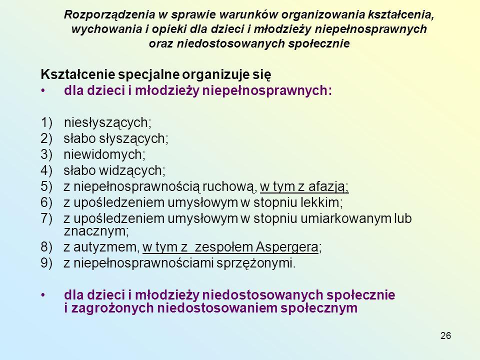 26 Kształcenie specjalne organizuje się dla dzieci i młodzieży niepełnosprawnych: 1)niesłyszących; 2) słabo słyszących; 3) niewidomych; 4) słabo widzących; 5) z niepełnosprawnością ruchową, w tym z afazją; 6) z upośledzeniem umysłowym w stopniu lekkim; 7) z upośledzeniem umysłowym w stopniu umiarkowanym lub znacznym; 8) z autyzmem, w tym z zespołem Aspergera; 9) z niepełnosprawnościami sprzężonymi.
