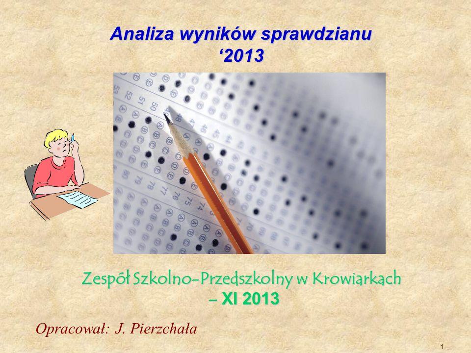1 Analiza wyników sprawdzianu 2013 Zespół Szkolno-Przedszkolny w Krowiarkach – XI 2013 – XI 2013 Opracował: J. Pierzchała
