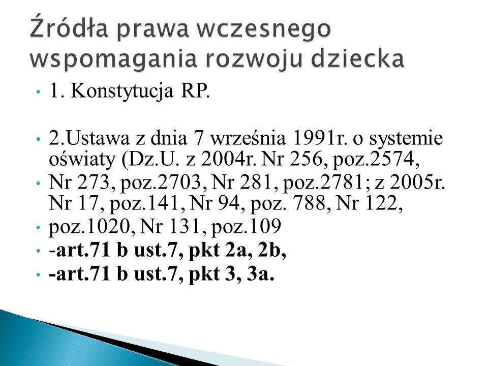 1. Konstytucja RP. 2.Ustawa z dnia 7 września 1991r. o systemie oświaty (Dz.U. z 2004r. Nr 256, poz.2574, Nr 273, poz.2703, Nr 281, poz.2781; z 2005r.