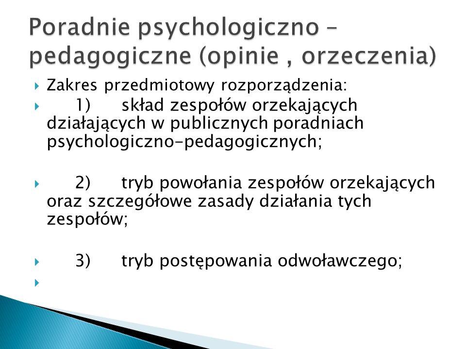 Zakres przedmiotowy rozporządzenia: 1)skład zespołów orzekających działających w publicznych poradniach psychologiczno-pedagogicznych; 2)tryb powołani