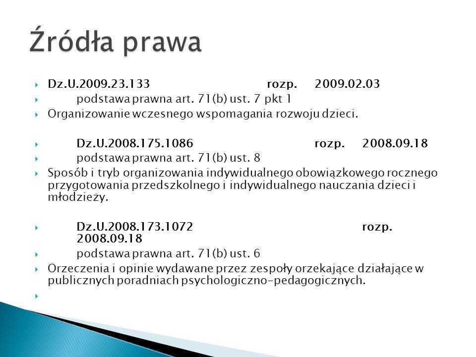 Dz.U.2009.23.133rozp.2009.02.03 podstawa prawna art. 71(b) ust. 7 pkt 1 Organizowanie wczesnego wspomagania rozwoju dzieci. Dz.U.2008.175.1086rozp.200
