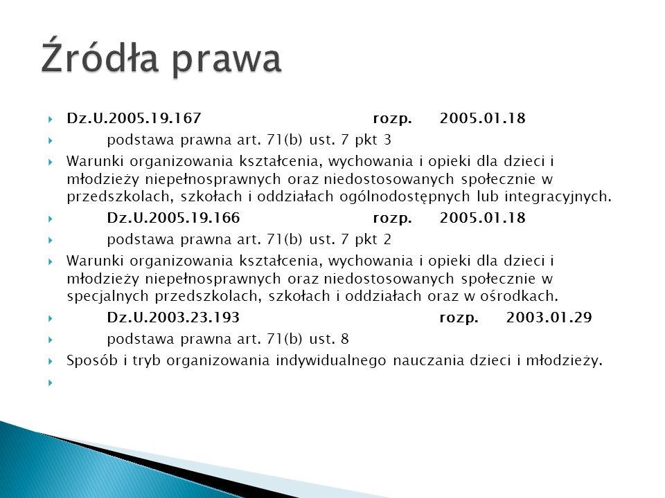 Dz.U.2005.19.167rozp.2005.01.18 podstawa prawna art. 71(b) ust. 7 pkt 3 Warunki organizowania kształcenia, wychowania i opieki dla dzieci i młodzieży