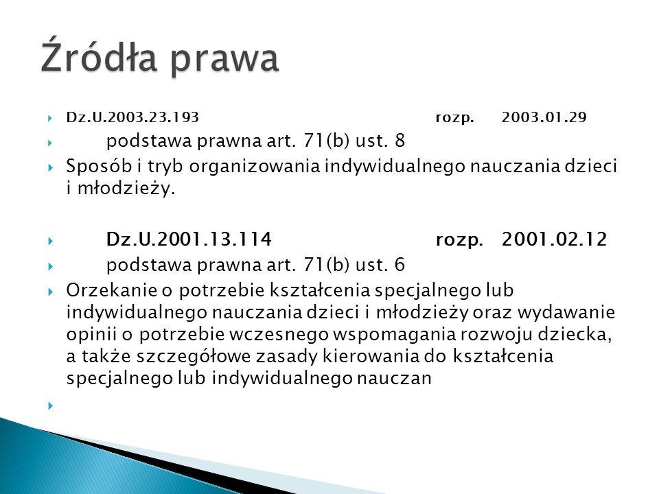 Dz.U.2003.23.193rozp.2003.01.29 podstawa prawna art. 71(b) ust. 8 Sposób i tryb organizowania indywidualnego nauczania dzieci i młodzieży. Dz.U.2001.1