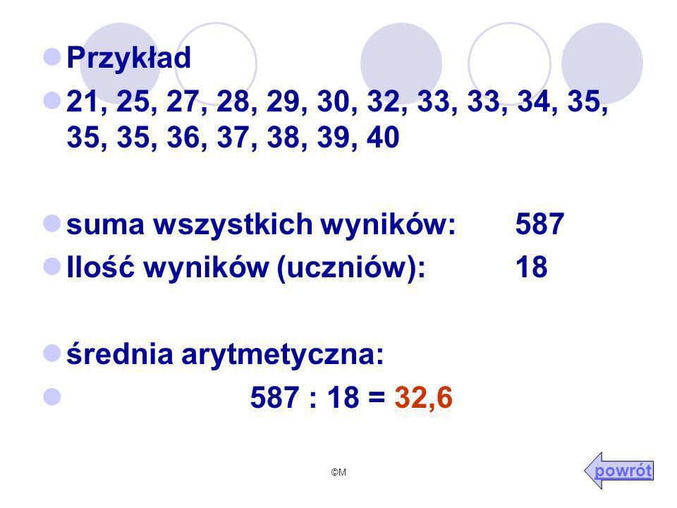 ©M Przykład 21, 25, 27, 28, 29, 30, 32, 33, 33, 34, 35, 35, 35, 36, 37, 38, 39, 40 suma wszystkich wyników: 587 Ilość wyników (uczniów): 18 średnia arytmetyczna: 587 : 18 = 32,6 powrót