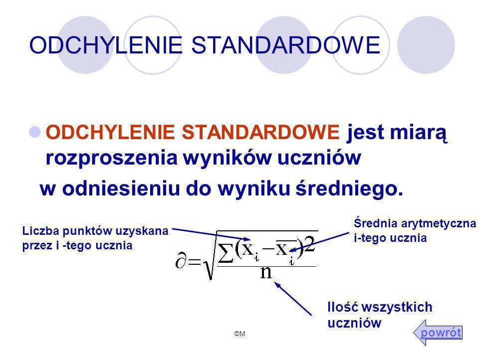 ©M ODCHYLENIE STANDARDOWE ODCHYLENIE STANDARDOWE jest miarą rozproszenia wyników uczniów w odniesieniu do wyniku średniego.