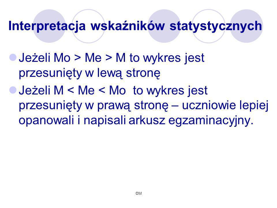 ©M Interpretacja wskaźników statystycznych Jeżeli Mo > Me > M to wykres jest przesunięty w lewą stronę Jeżeli M < Me < Mo to wykres jest przesunięty w