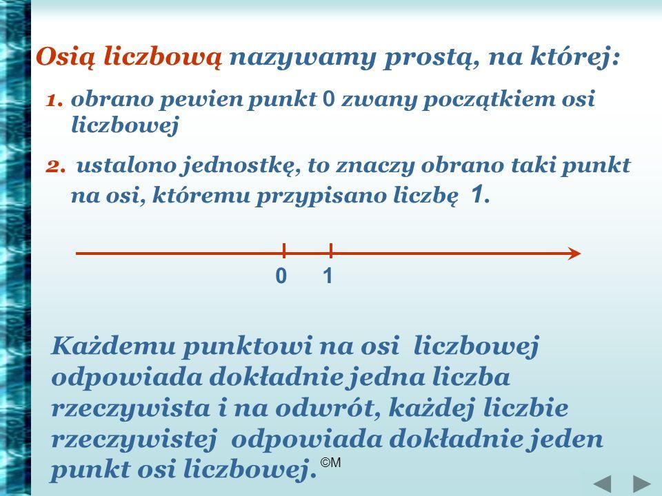©M Osią liczbową nazywamy prostą, na której: 1.obrano pewien punkt 0 zwany początkiem osi liczbowej 2. ustalono jednostkę, to znaczy obrano taki punkt