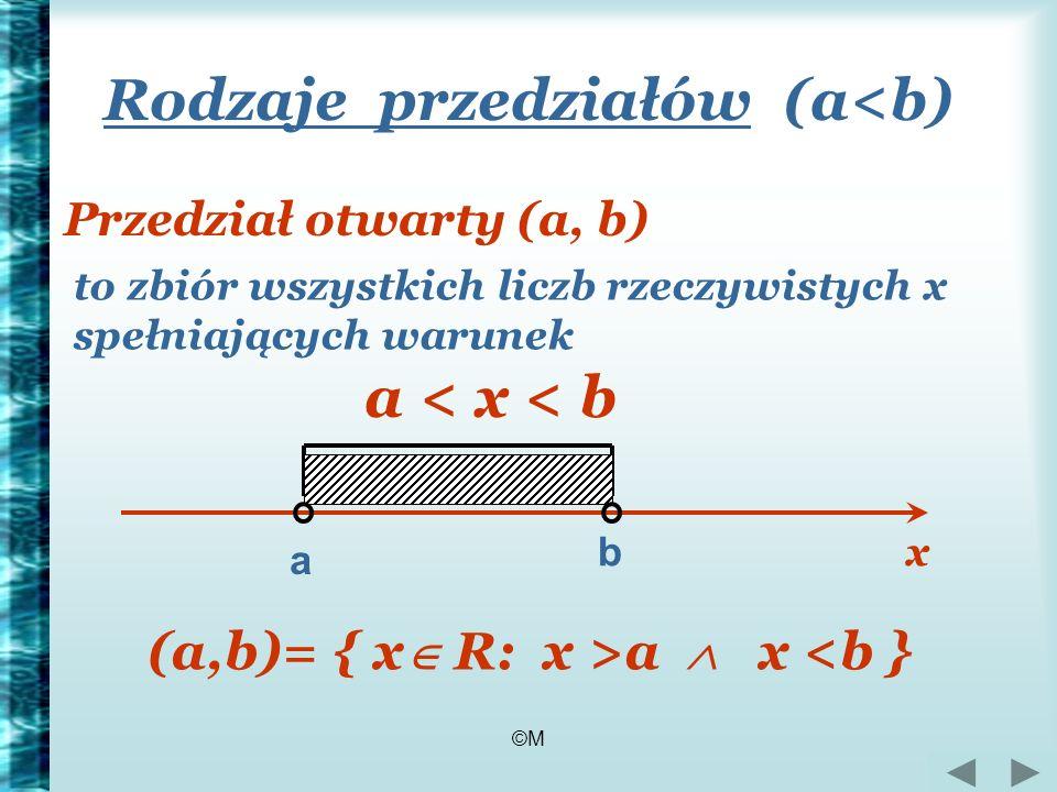 ©M Rodzaje przedziałów (a<b) Przedział otwarty (a, b) to zbiór wszystkich liczb rzeczywistych x spełniających warunek a < x < b a b (a,b)= { x R: x >a