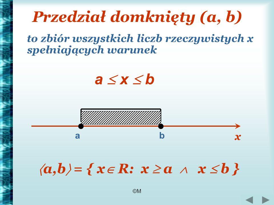 ©M Przedział domknięty (a, b) to zbiór wszystkich liczb rzeczywistych x spełniających warunek a x b a,b = { x R: x a x b } ab x