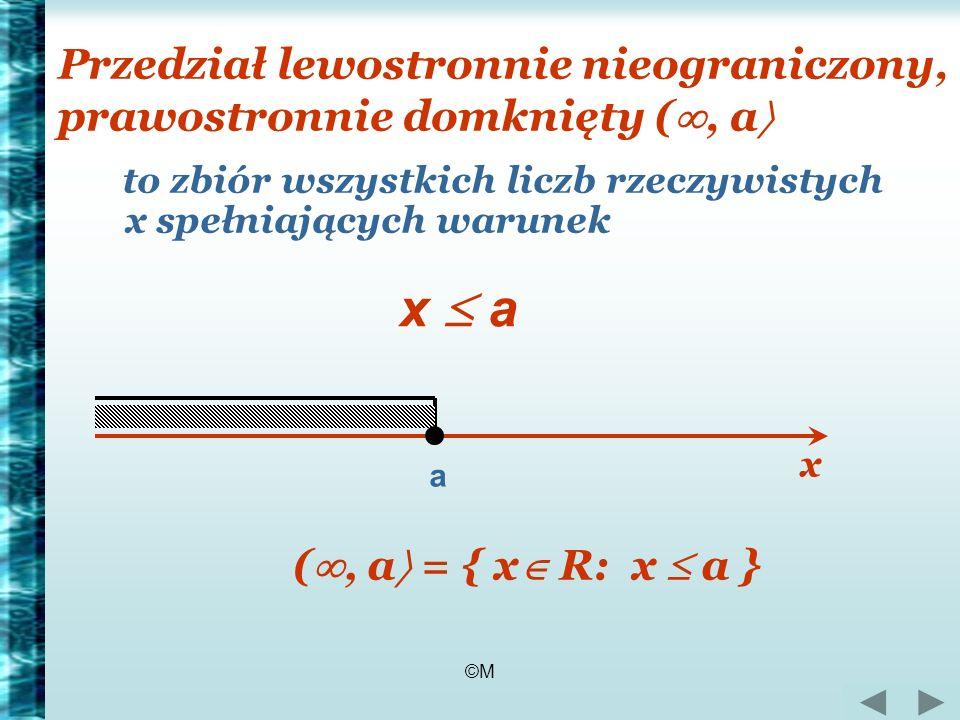 ©M Przedział lewostronnie nieograniczony, prawostronnie domknięty (, a to zbiór wszystkich liczb rzeczywistych x spełniających warunek a x a (, a = {