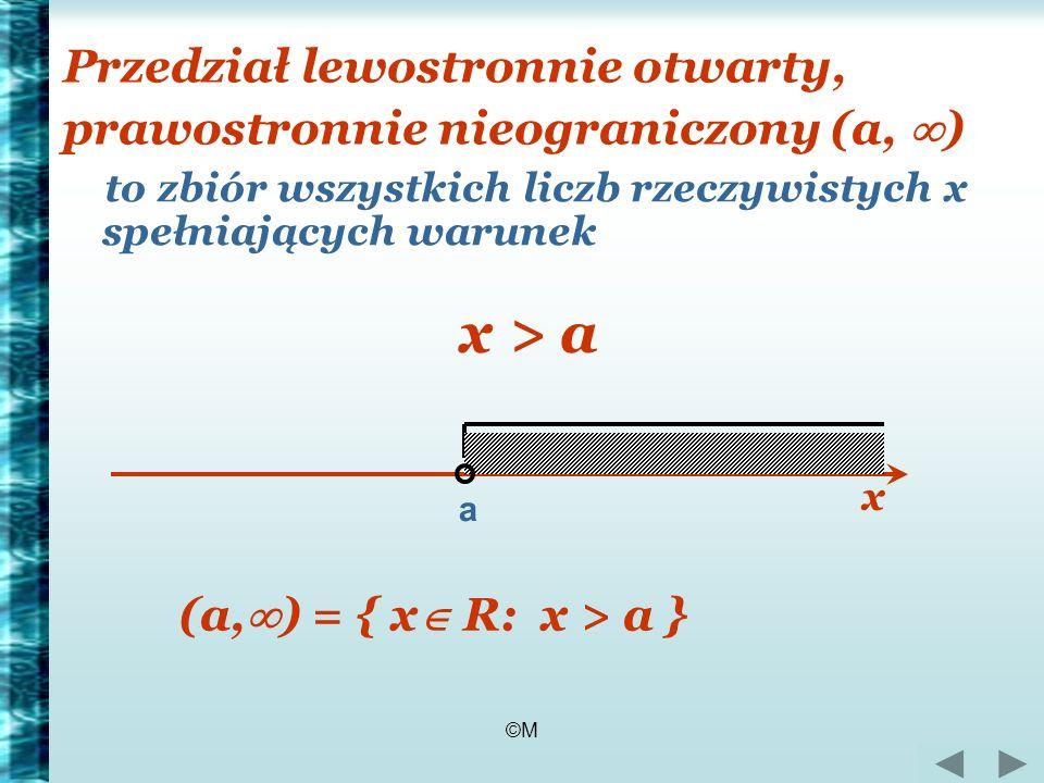©M Przedział lewostronnie otwarty, prawostronnie nieograniczony (a, ) to zbiór wszystkich liczb rzeczywistych x spełniających warunek x > a a (a, ) =