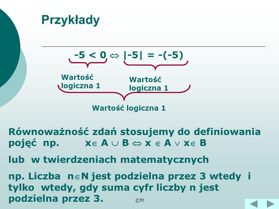 ©M Równoważność zdań pq p q 111 100 010 001 Tabela wartości logicznych równoważności. to zdanie złożone postaci p wtedy i tylko wtedy, gdy q. p q znac