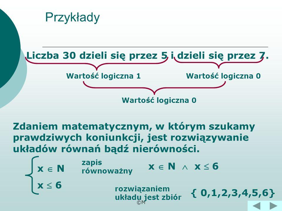 ©M Koniunkcją zdań nazywamy dwa zdania p, q połączone spójnikiem i. pq p q 111 100 010 000 Tabela wartości logicznych koniunkcji.
