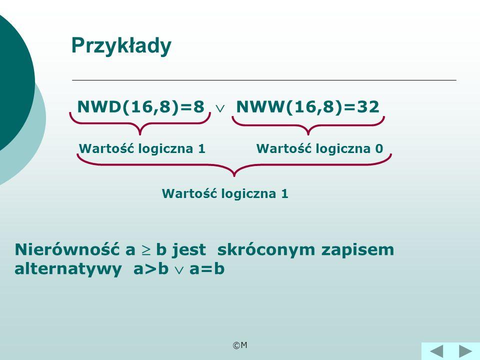 ©M Alternatywą zdań pq p q 111 101 011 000 Tabela wartości logicznych alternatywy. nazywamy dwa zdania p, q połączone spójnikiem lub.