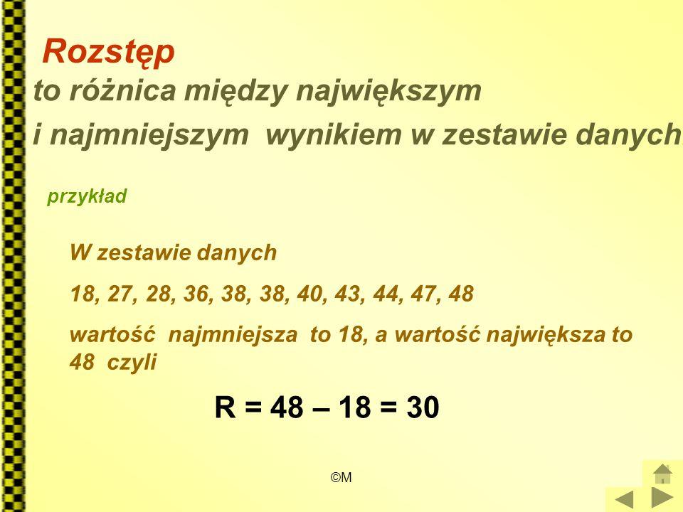 ©M Rozstęp to różnica między największym i najmniejszym wynikiem w zestawie danych. przykład W zestawie danych 18, 27, 28, 36, 38, 38, 40, 43, 44, 47,