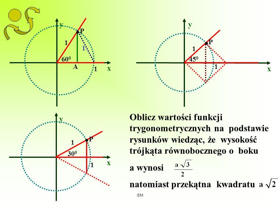 ©M x y x y 1 1.P.P A 60 0 1 1 1 45 0.P.P x y 1 1 30 0.P.P Oblicz wartości funkcji trygonometrycznych na podstawie rysunków wiedząc, że wysokość trójką
