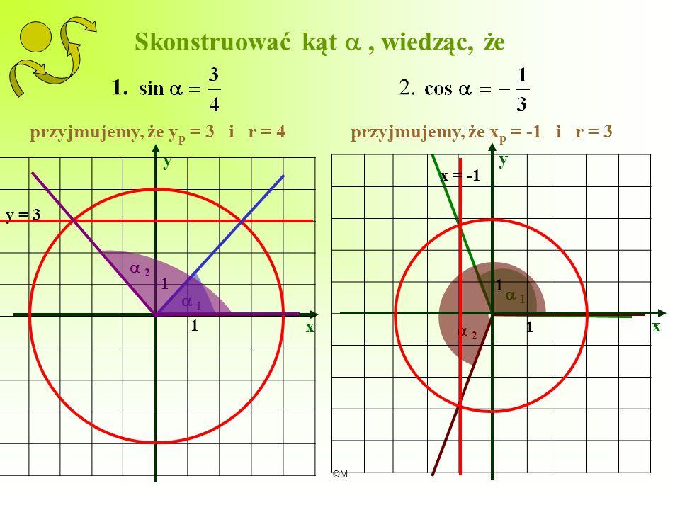 ©M 1 2 x y 1 1 Skonstruować kąt, wiedząc, że 1.2. przyjmujemy, że y p = 3 i r = 4przyjmujemy, że x p = -1 i r = 3 y = 3 1 x y 1 1 2 x = -1