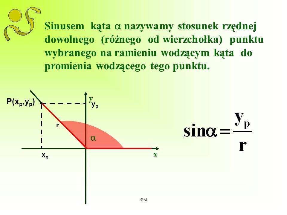 ©M Sinusem kąta nazywamy stosunek rzędnej dowolnego (różnego od wierzchołka) punktu wybranego na ramieniu wodzącym kąta do promienia wodzącego tego pu