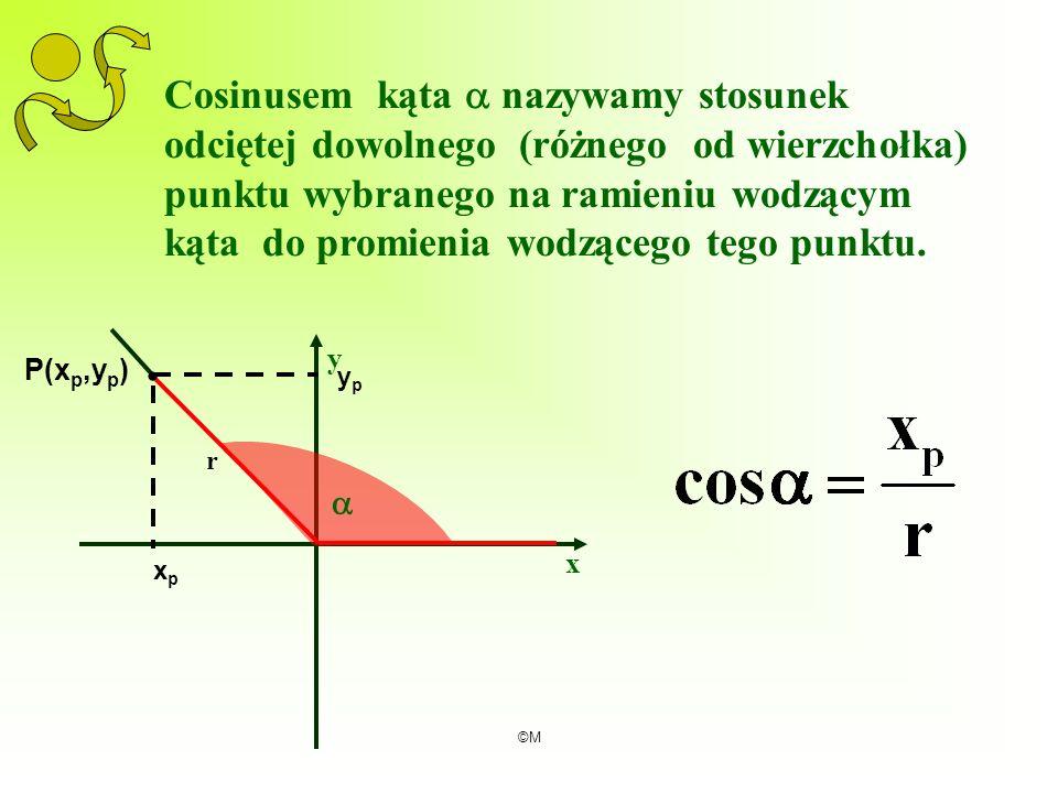 ©M Cosinusem kąta nazywamy stosunek odciętej dowolnego (różnego od wierzchołka) punktu wybranego na ramieniu wodzącym kąta do promienia wodzącego tego