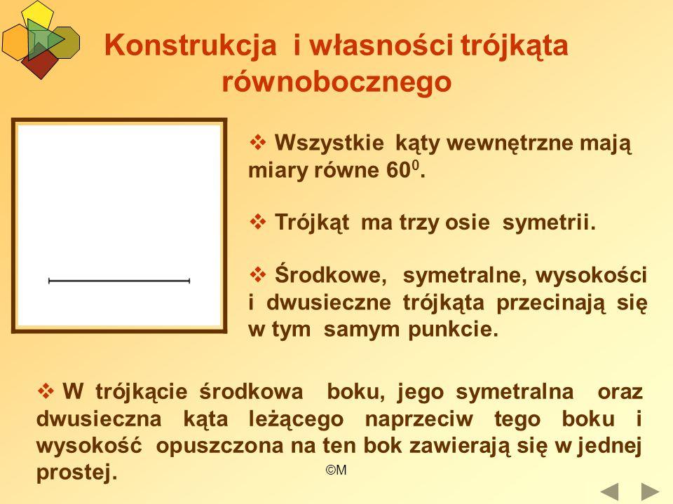 ©M Konstrukcja i własności trójkąta równobocznego Wszystkie kąty wewnętrzne mają miary równe 60 0. Trójkąt ma trzy osie symetrii. Środkowe, symetralne