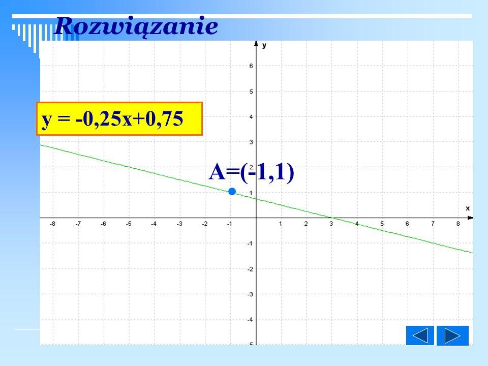 ©M y = -0,25x+0,75 A=(-1,1) Rozwiązanie