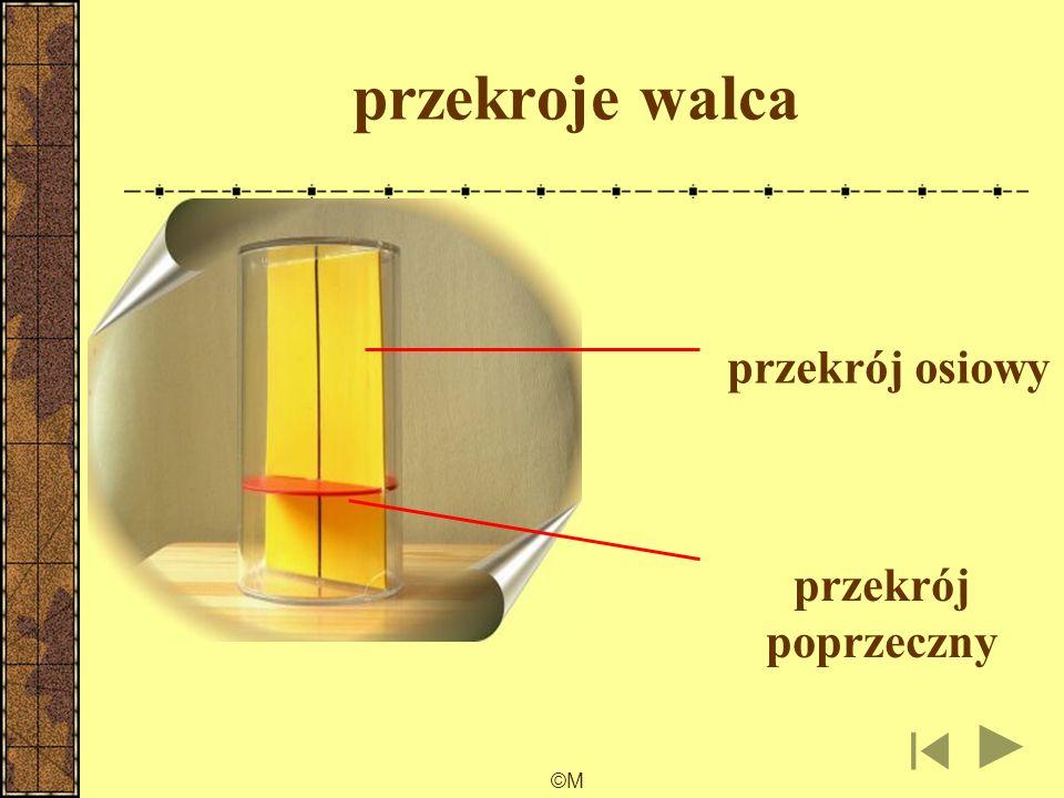 ©M Przekrój płaski figury przestrzennej jest częścią wspólną tej figury i płaszczyzny α. Przekrój osiowy bryły obrotowej jest częścią wspólną tej brył
