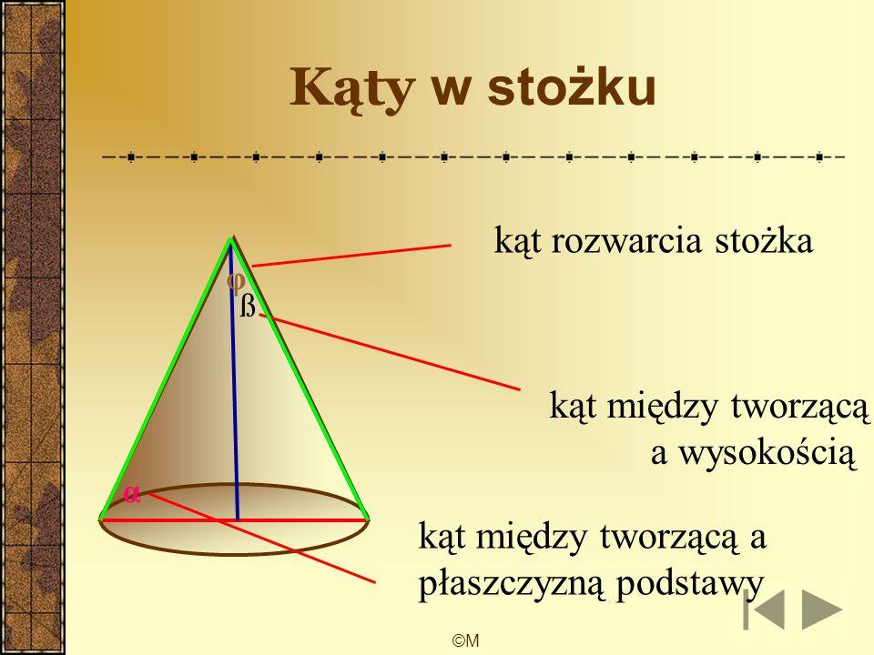 ©M Kąty w walcu α kąt między przekątną przekroju osiowego a płaszczyzną podstawy ß kąt miedzy przekątną przekroju osiowego a wysokością