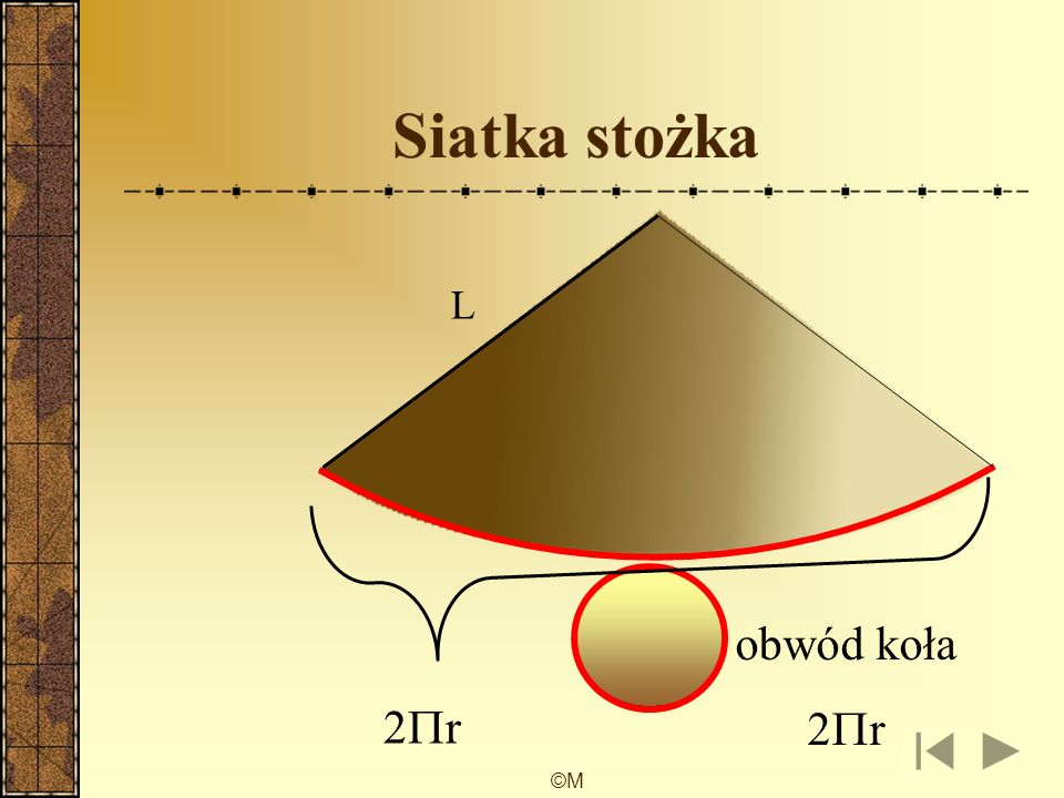 ©M wzory pole powierzchni podstawy stożka pole powierzchni bocznej stożka pole powierzchni całkowitej stożka objętość stożka P p = Πr 2 P b = Πrl P c = Πr 2 + Πrl V = Πr 2 h